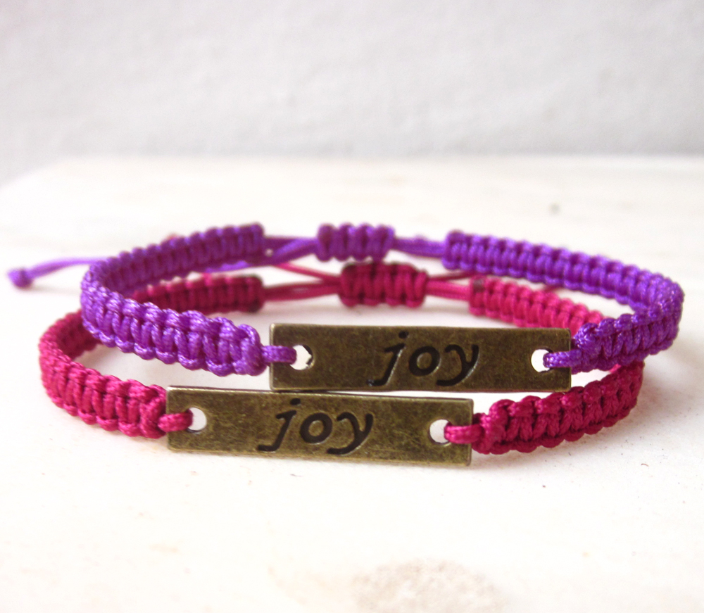 Joy tag friendship bracelet macrame inspiration jewelry MADE TO ORDER in your desired color