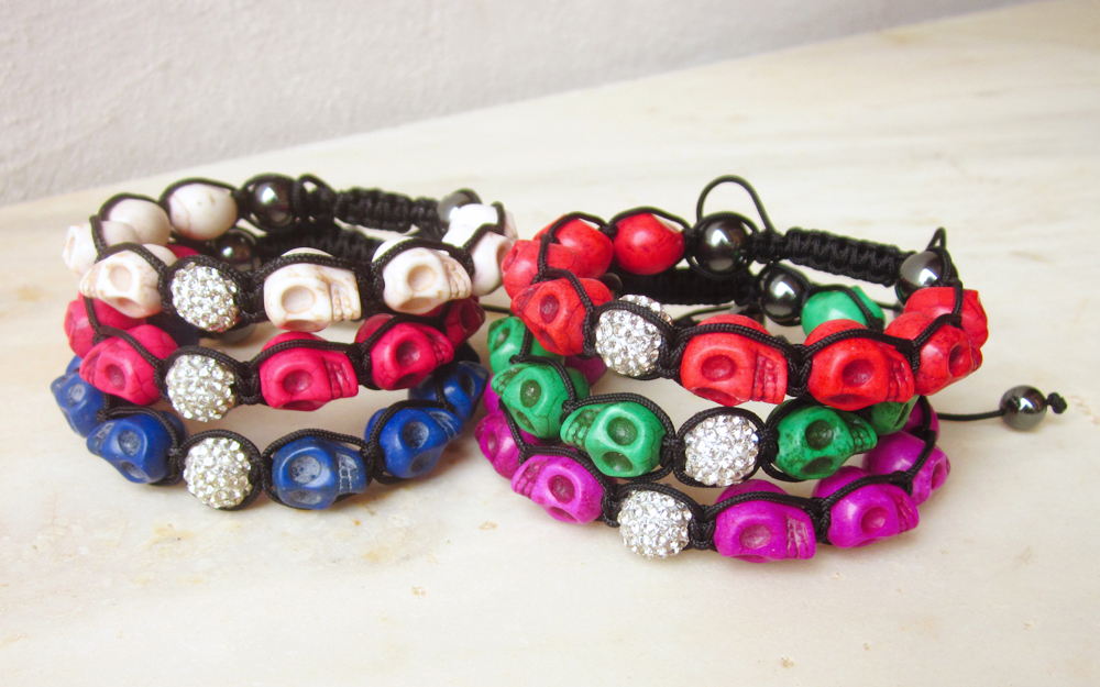 Howlite skulls bracelet friendship bracelet macrame colorful bracelet crystal disco ball bracelet stackable MADE TO ORDER customizable