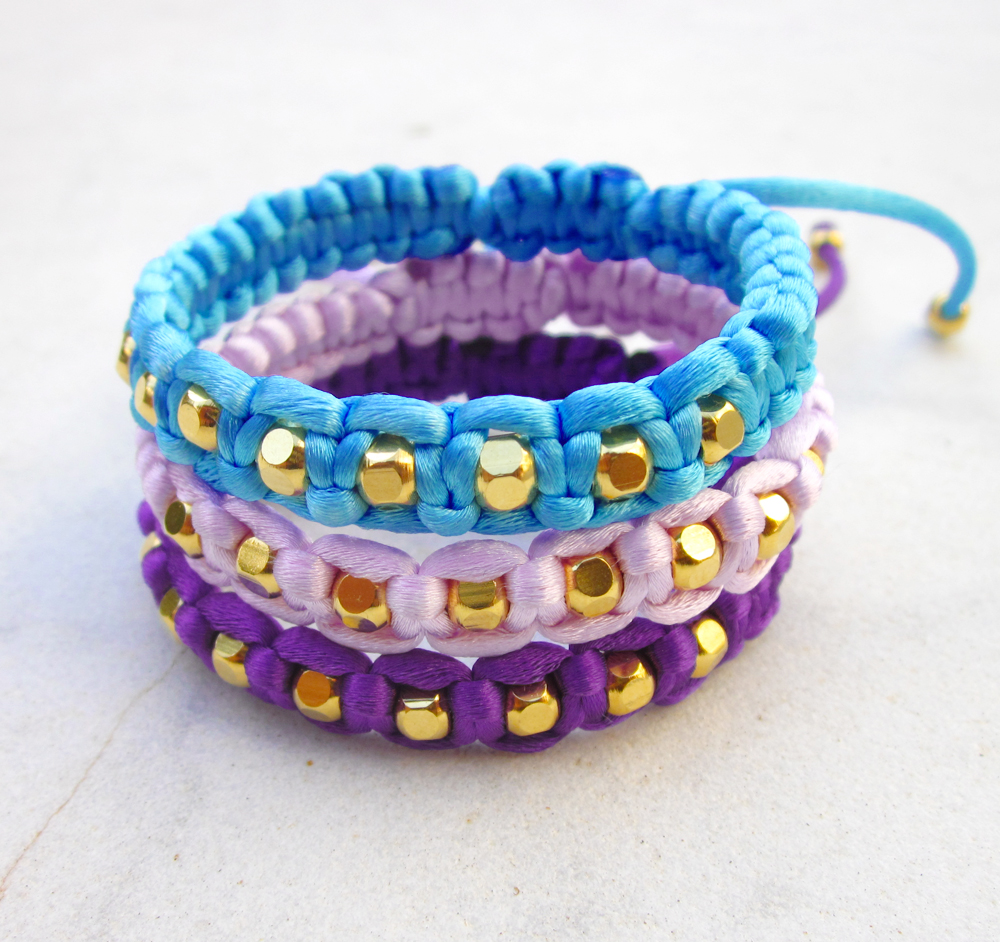 Bracelet gold beads friendship bracelet macrame bracelet stackable bracelet adjustable -PICK YOUR COLOR