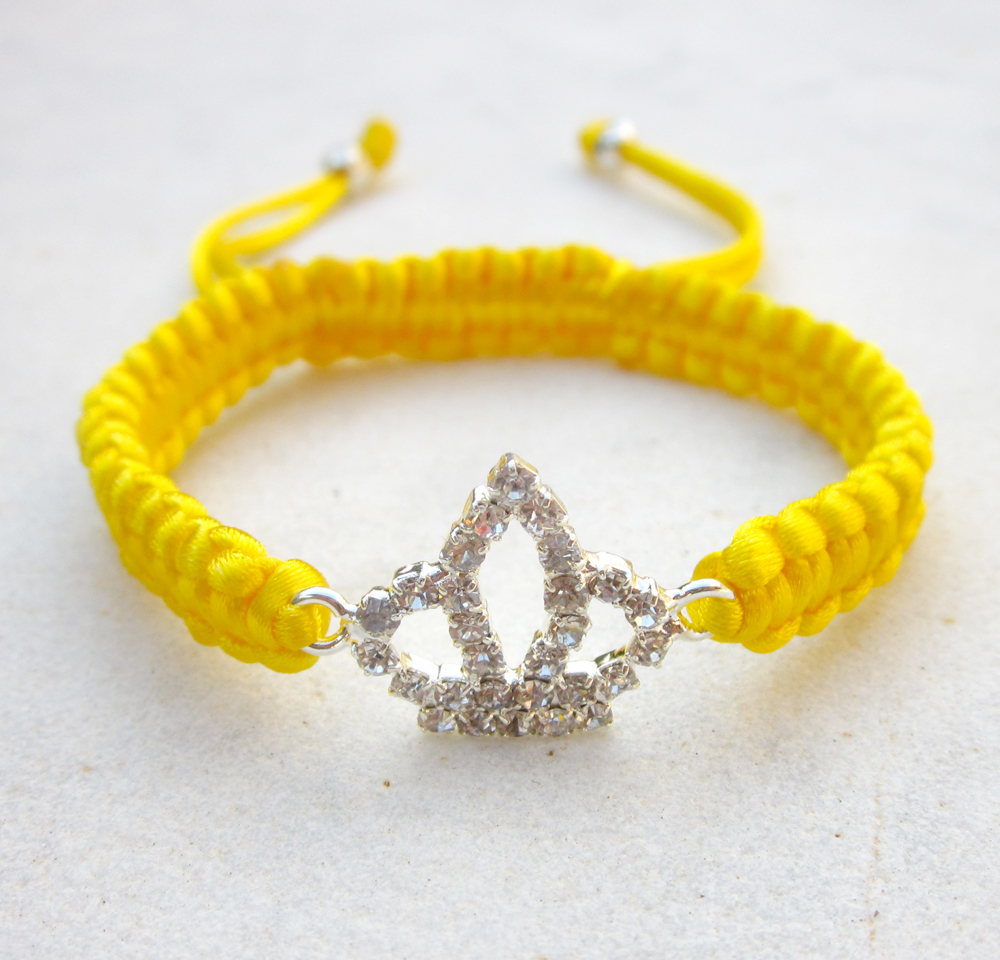 Crown bracelet yellow friendship bracelet rhinestone stack jewelry