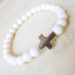 Sideways cross bracelet stretch bracelet stackable white coral bracelet stone