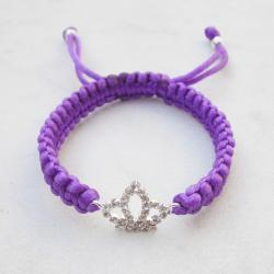 Crown bracelet purple friendship bracelet rhinestone stack jewelry