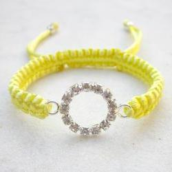 Bracelet eternity circle friendship bracelet rhinestones stack jewelry light yellow