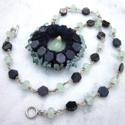 Night Sky gemstone statement necklace with blue goldstone green chalchedony and quartz chips