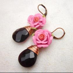 Romantic pink rose and amethyst earrings