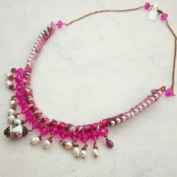 Romantic pink yarn necklace with crystals and pearls